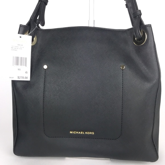 79a23193a2be Michael Kors Bags | Black Saffiano Walsh Shoulder Tote | Poshmark